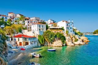 skiathos island ariadni villa town view